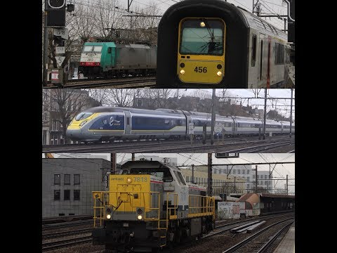 (HD) Trains at Antwerp Berchem (SNCB Passenger & Freight, Thalys, NS International, Eurostar)
