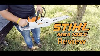 Stihl MSA 120 C Chainsaw Review | Lithium Battery Powered Tool Free Chainsaw Features