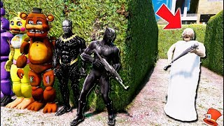 CAN BLACK PANTHER & KILLMONGER & ANIMATRONICS HIDE FROM GRANNY? (GTA 5 Mods FNAF RedHatter)