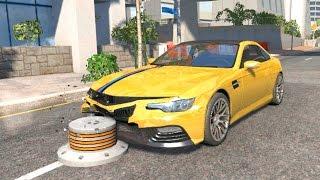 BeamNG drive - Low height Bollard Speeding Car Crashes