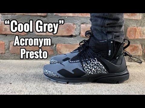 """new style 2ad32 59757 Nike Presto Mid x Acronym """"Cool Grey"""" on Feet"""