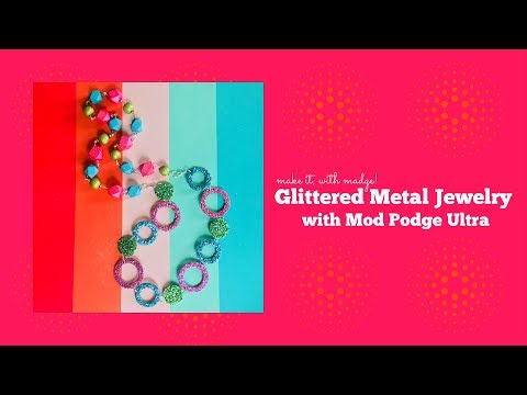 DIY Glittered Metal Necklace with Mod Podge Ultra