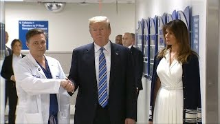 Trump visits Florida hospital to pay respects after school shooting