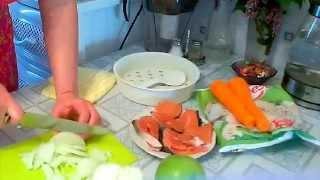 GVK : Рыба в мультиварке, овощи в мультиварке, салат с копченой колбасой и яблоком