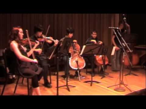 A performance of a piece I wrote for string quintet and electronic beats