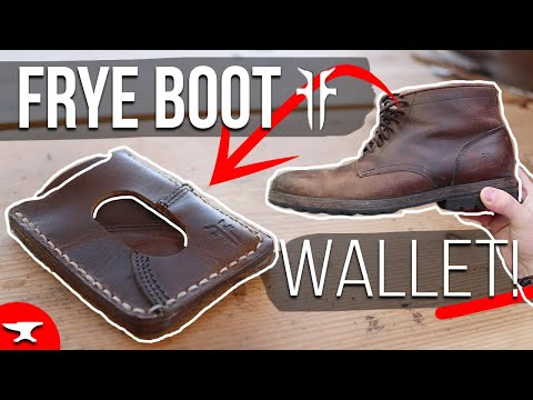 LEATHER WALLET from a BOOT! - (FREE TEMPLATE) - How to make