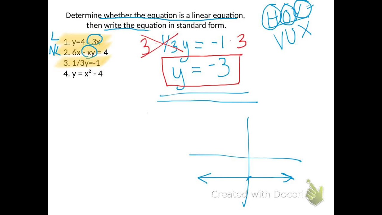 Ch 3 1 Identify Linear Equations X And Y Intercepts