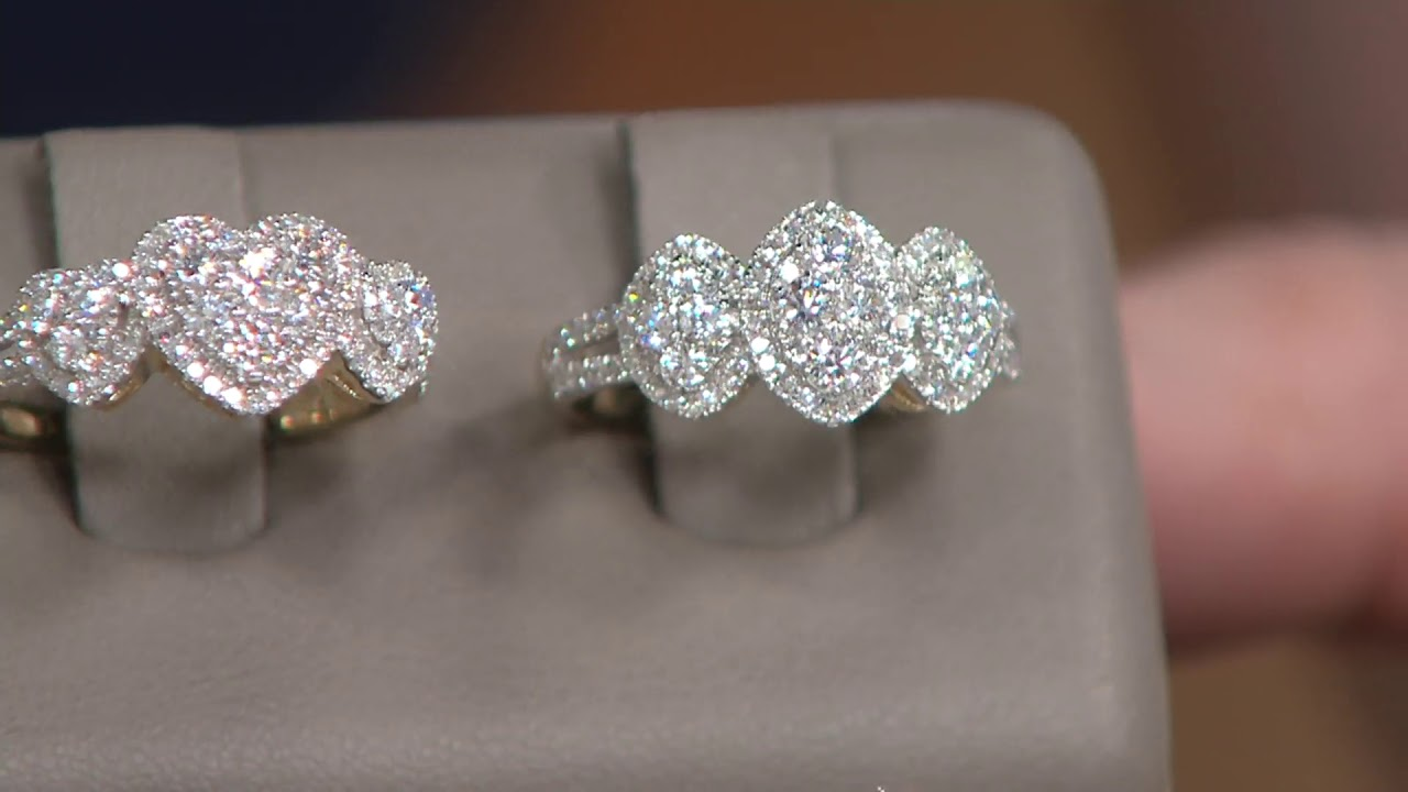 f408d62c5a398 Affinity 14K Gold Triple Cluster Diamond Ring, 1.00cttw on QVC