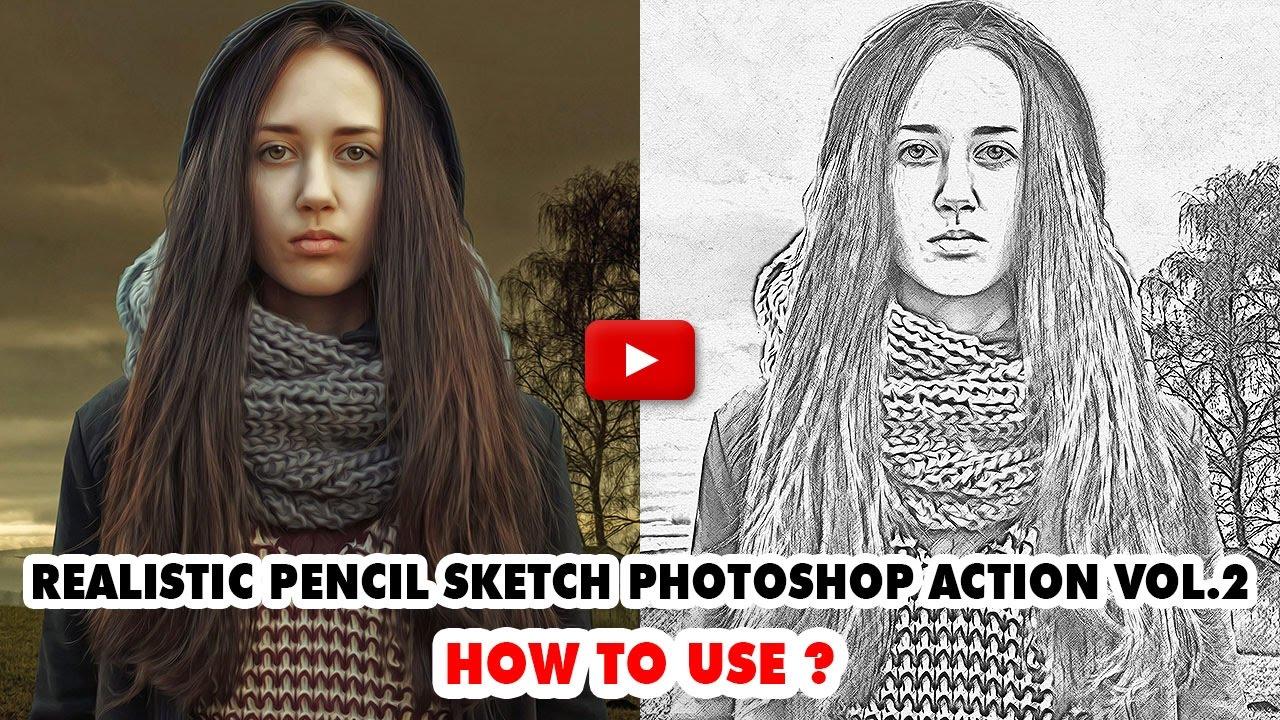 Realistic pencil sketch photoshop action video tutorial smartestmind photoshop actions