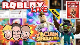 Roblox en direct - France Mise à jour de l'événement Vacuum Simulator - Plus d'informations Robux Giveaway Challenge - France Charité Livestream