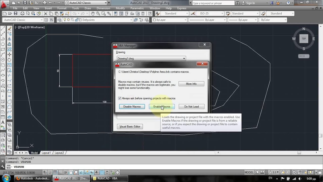 AutoCAD VBA Add-In: Calculate Polylines Length & Area – My