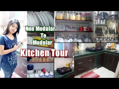 Kitchen Tour | Modular Kitchen In Low Budget | Small Indian Kitchen Organization Idea