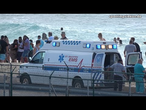Jet Blast hitting Ambulance on Maho Beach - St. Maarten - 2017-01-14