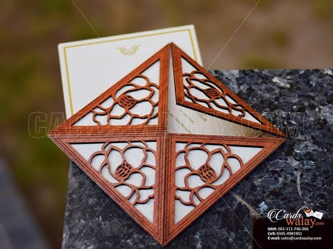 Wooden Square Four Corners Invite with Laser Cut Pattern || DW007 || www.cardswalay.com