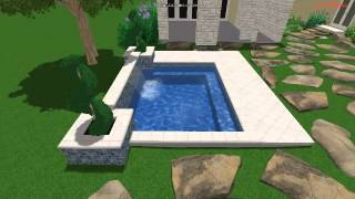 Large Spa With Sheer Waterfall, Planter, And Travertine Coping And Decking.