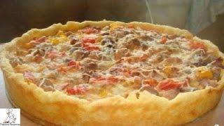 Пирог с картошкой и фаршем.Открытый мясной пирог с картофельным тестом