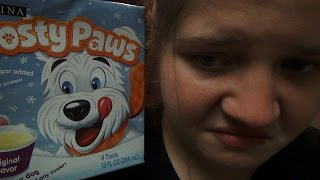 BRIDGETTE EATS FROSTY PAWS! (DOG ICE CREAM PRANK!)