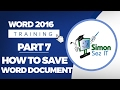 Word 2016 for Beginners Part 7: How to Save a Word 2016 Document