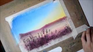 Простой пейзаж пастелью