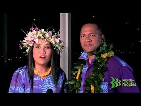 Hosts of the Niue Language Week 2017 launch, Lynn Lolokini Ikimotu Pavihi & Ioane Aleke Faavae.