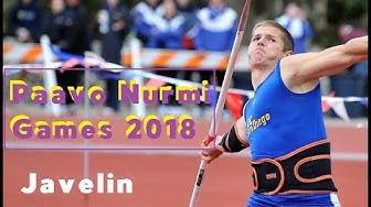 Paavo Nurmi Games 2018 / Turku, FInland / Javelin Throw