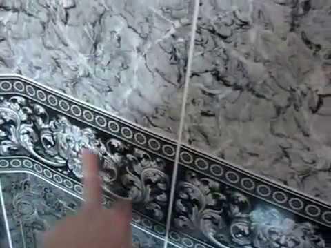 Ванная комната из ПВХ панелей с фризом (черный лев). Bathroom PVC panels with a frieze (black lion).