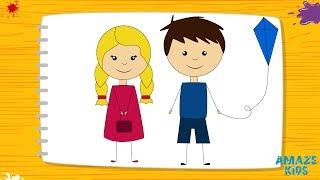 Как Нарисовать Мальчика и Девочку для Детей. Простые Рисунки Своими Руками.Уроки Рисования для Детей