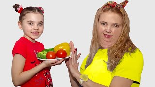 Polina teaches mom to eat and exercise properly | 동요와 아이 노래 | 어린이 교육