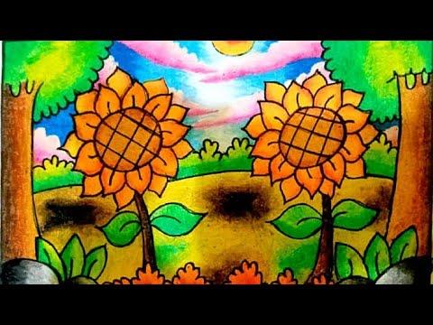 Menggambar Dan Mewarnai Bunga Matahari Menggunakan Crayon Youtube