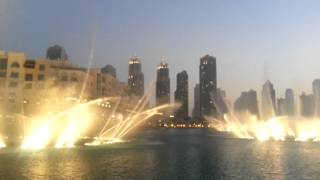 Dubai fountain. The Prayer - Andrea Bocelli & Celine Dion