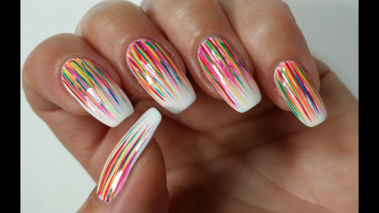 Easy Summer Nail Art Abstract Rainbow Nails Youtube