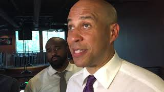 U.S. Sen. Cory Booker speaks at a rally in Norman