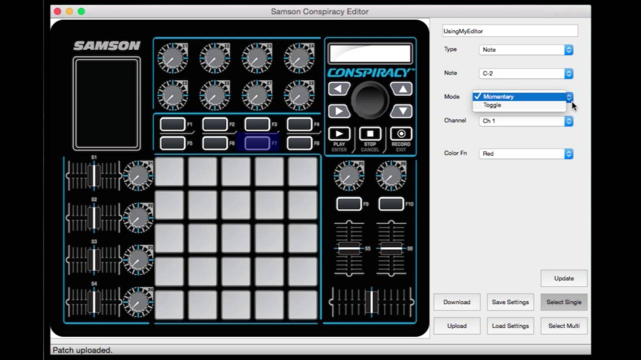 Samson Conspiracy Midi Control Surface: How to Use the Conspiracy Software  Editor