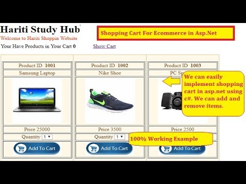 #2 Implement Complete Shopping Cart in Asp.Net with Database | Hindi | E-commerce Website | Free