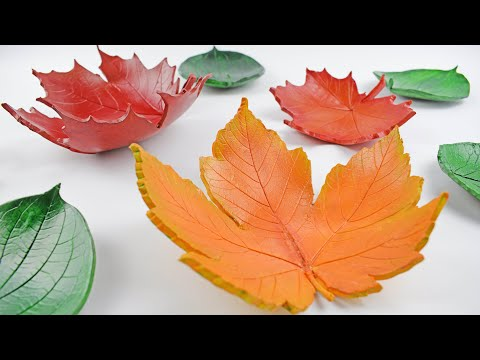 DIY Autumn Leaf Bowls - Easy Home Decorations Tutorial - Air Drying Clay Decor Craft