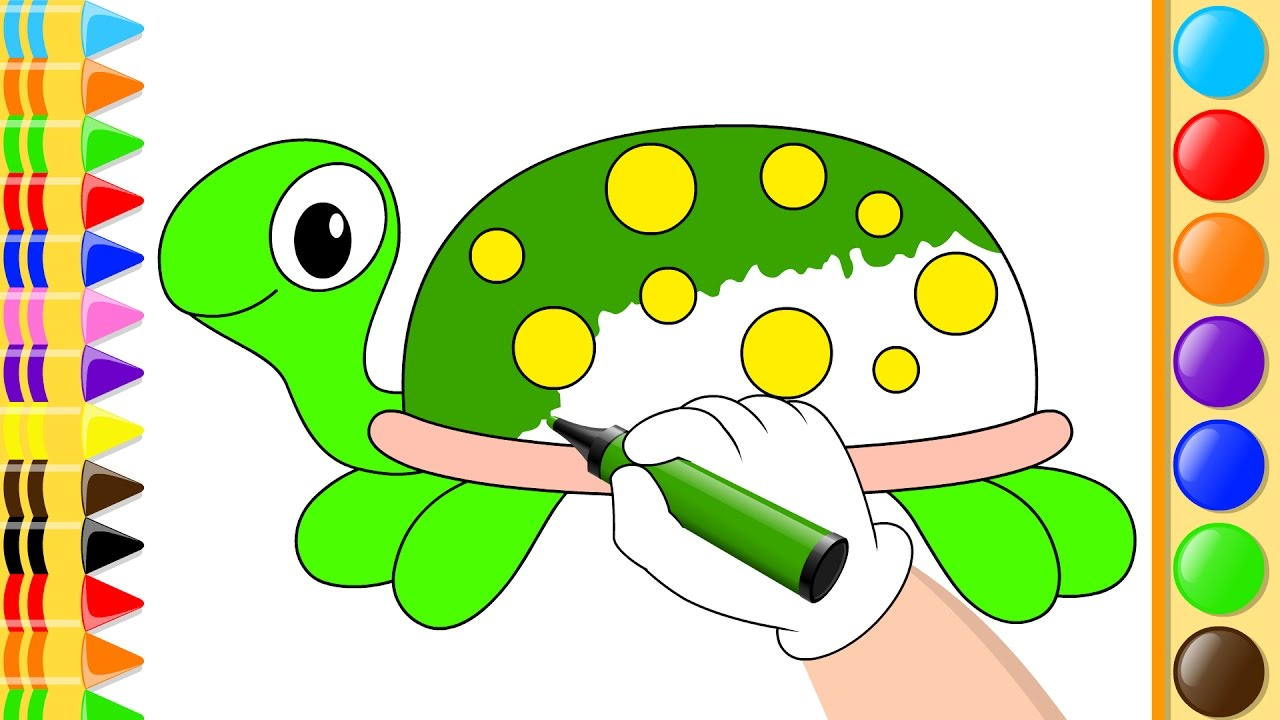 How To Draw Turtle with Circle - Coloring for Kids with Colored ...