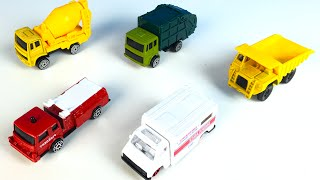 MAISTO ADVENTURE WHEELS WITH MIGHTY MACHINES DUMP & CEMENT TRUCK AMBULANCE & FIRE TRUCK
