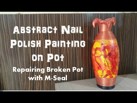 Abstract Pot Painting | Recycling Broken Pot | Matka Decoration Ideas with Acrylic Colours