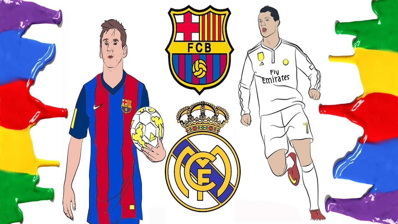 How To Draw And Color Barcelona Real Madrid Logo And Messi