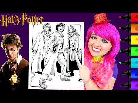 coloring-harry-potter,-ron-&-hermione-crayola-coloring-page-prismacolor-markers-|-kimmi-the-clown