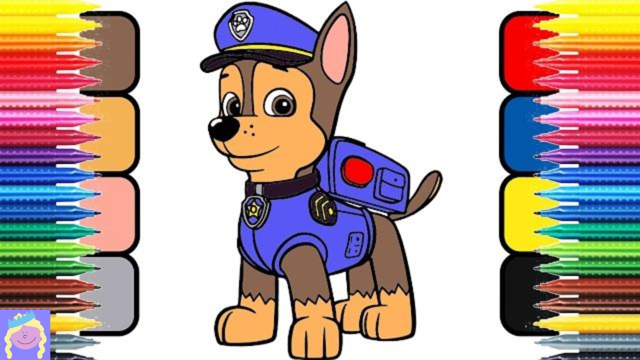 Learn How To Color Chase From Paw Patrol With This Digital