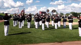 US Marine Corp Band plays the National Anthem at the Schaumburg Boomers Game