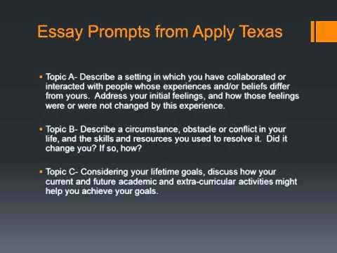 texas state university essay prompts Texas christian university is accredited by the commission on colleges of the southern association of colleges and schools to award baccalaureate, masters, doctoral degrees contact the commission on colleges at 1866 southern lane, decatur, georgia 30033-4097 or call 404-679-4500 for questions about the accreditation of texas christian university.