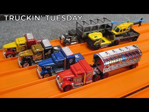 Truckin' Tuesday Hot Wheels Track Stars Fuel & Fire and Custom Convoy