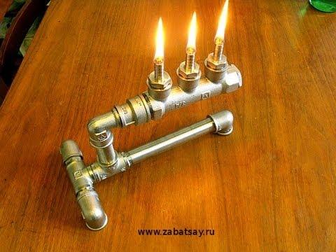 Масляная лампа из труб своими руками