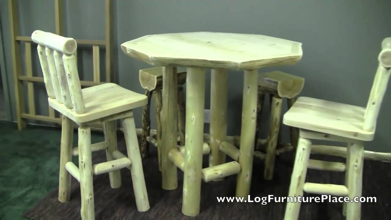 Cedar Lake Log Pub Table Custom Cabin Furniture From Jhe