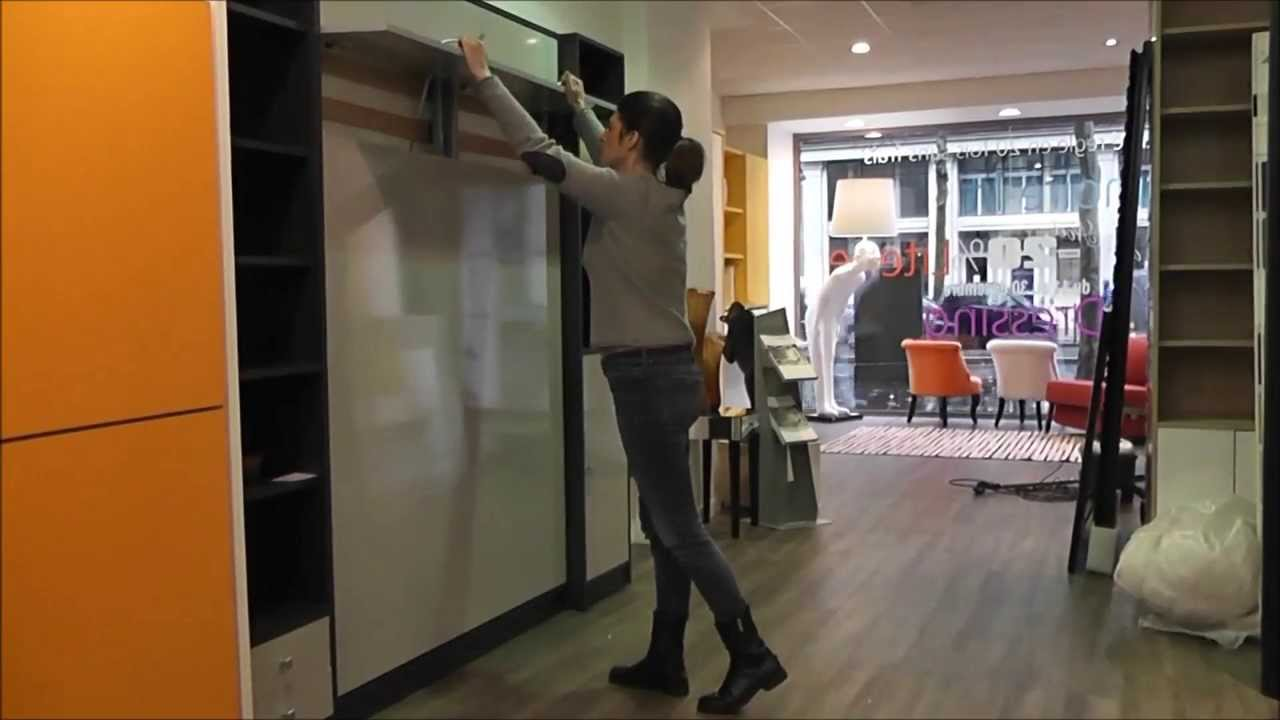 Armoire lit escamotable made in france youtube - Installation lit escamotable ...