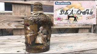 DIY: How to make Grandmother decoration on a whiskey bottle TUTORIAL