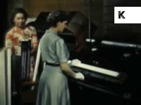 1940s Women Work in TL Lightbulb Factory, Color USA Archive Footage