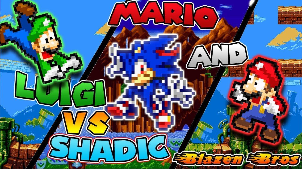 Mario And Luigi Vs Shadic Blazen Bros Sprite Animation Youtube